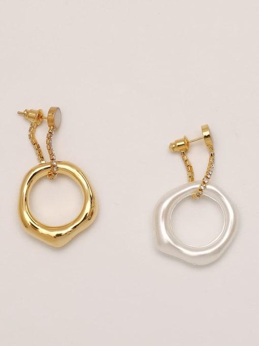 Golden white [circle] Brass hollow Geometric Vintage Drop Earring